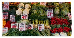 Close-up Of Pike Place Market, Seattle Beach Towel by Panoramic Images