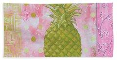 Coastal Decorative Pink Green Floral Greek Pattern Fruit Art Fresh Pineapple By Madart Beach Towel by Megan Duncanson