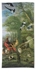 Cock Pheasant Hen Pheasant And Chicks And Other Birds In A Classical Landscape Beach Towel by Pieter Casteels
