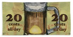 Cold Beer Beach Towel by Debbie DeWitt