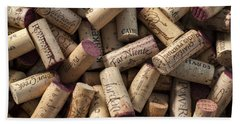 Collection Of Fine Wine Corks Beach Sheet by Adam Romanowicz