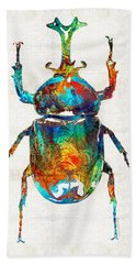 Colorful Beetle Art - Scarab Beauty - By Sharon Cummings Beach Sheet by Sharon Cummings