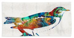 Colorful Bird Art - Sweet Song - By Sharon Cummings Beach Sheet by Sharon Cummings