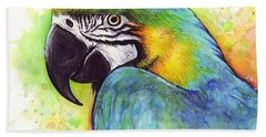Macaw Watercolor Beach Towel by Olga Shvartsur