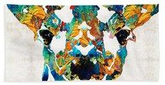 Colorful Giraffe Art - Curious - By Sharon Cummings Beach Sheet by Sharon Cummings