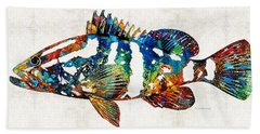 Colorful Grouper 2 Art Fish By Sharon Cummings Beach Sheet by Sharon Cummings