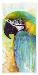 Macaw Painting Beach Towel by Olga Shvartsur