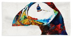Colorful Puffin Art By Sharon Cummings Beach Towel by Sharon Cummings