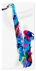 Colorful Saxophone 2 By Sharon Cummings Beach Sheet by Sharon Cummings