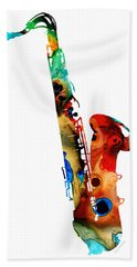 Colorful Saxophone By Sharon Cummings Beach Sheet by Sharon Cummings
