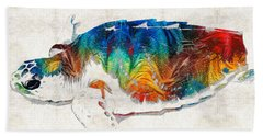 Colorful Sea Turtle By Sharon Cummings Beach Towel by Sharon Cummings