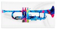 Colorful Trumpet 2 Art By Sharon Cummings Beach Sheet by Sharon Cummings