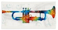 Colorful Trumpet Art Color Fusion By Sharon Cummings Beach Towel by Sharon Cummings