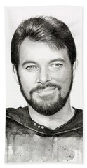 Commander William Riker Star Trek Beach Towel by Olga Shvartsur