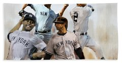 Core  Derek Jeter Mariano Rivera  Andy Pettitte Jorge Posada Beach Sheet by Iconic Images Art Gallery David Pucciarelli