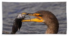 Cormorant Catching Catfish Beach Towel by Bruce J Robinson