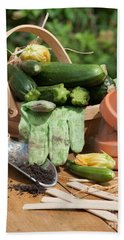 Courgette Basket With Garden Tools Beach Sheet by Amanda Elwell