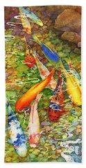 Coy Koi Beach Towel by Hailey E Herrera