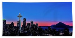 Crescent Moon Over Seattle Beach Towel by Benjamin Yeager