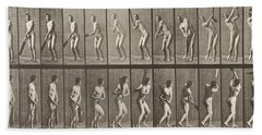 Cricketer Beach Sheet by Eadweard Muybridge
