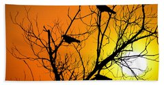 Crows At Sunset Beach Sheet by Bill Cannon