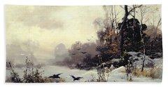 Crows In A Winter Landscape Beach Towel by Karl Kustner