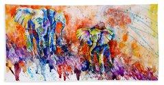 Curious Baby Elephant Beach Towel by Zaira Dzhaubaeva