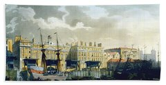 Custom House From The River Thames Beach Towel by T. & Pugin, A.C. Rowlandson