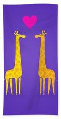 Cute Cartoon Giraffe Couple In Love Purple Edition Beach Sheet by Philipp Rietz