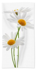 Daisies On White Background Beach Towel by Elena Elisseeva