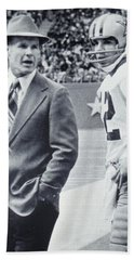 Dallas Cowboys Coach Tom Landry And Quarterback #12 Roger Staubach Beach Towel by Donna Wilson