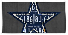 Dallas Cowboys Football Team Retro Logo Texas License Plate Art Beach Towel by Design Turnpike
