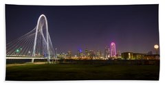 Dallas Skyline And Margaret Hunt Hill Bridge Beach Sheet by David Morefield