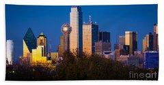 Dallas Skyline Beach Towel by Inge Johnsson