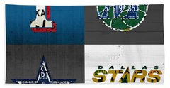 Dallas Sports Fan Recycled Vintage Texas License Plate Art Rangers Mavericks Cowboys Stars Beach Towel by Design Turnpike