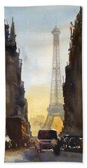 Dawn In Paris Beach Towel by James Nyika