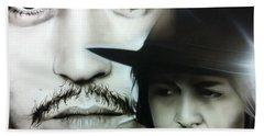 Johnny Depp - ' Depp ' Beach Towel by Christian Chapman Art