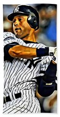 Derek Jeter In Action Beach Sheet by Florian Rodarte