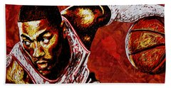 Derrick Rose Beach Towel by Maria Arango