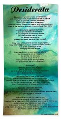 Desiderata 2 - Words Of Wisdom Beach Sheet by Sharon Cummings