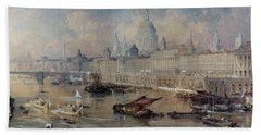 Design For The Thames Embankment Beach Towel by Thomas Allom
