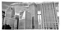 Detroit Black And White Beach Sheet by Frozen in Time Fine Art Photography