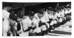 Dimaggio In Yankee Dugout Beach Sheet by Underwood Archives