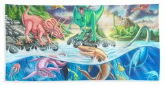 Dinosaur Island Beach Sheet by Mark Gregory