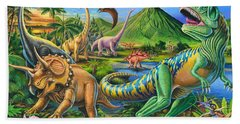 Dinosaur Scene Beach Sheet by Mark Gregory