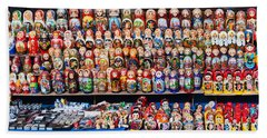 Display Of The Russian Nesting Dolls Beach Towel by Panoramic Images