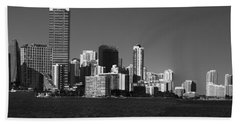 Downtown Miami Panorama Monochrom  Beach Sheet by Christiane Schulze Art And Photography