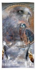 Dream Catcher - Hawk Spirit Beach Sheet by Carol Cavalaris