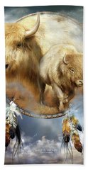 Dream Catcher - Spirit Of The White Buffalo Beach Towel by Carol Cavalaris