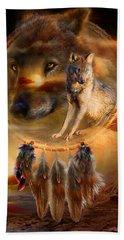 Dream Catcher - Wolfland Beach Towel by Carol Cavalaris